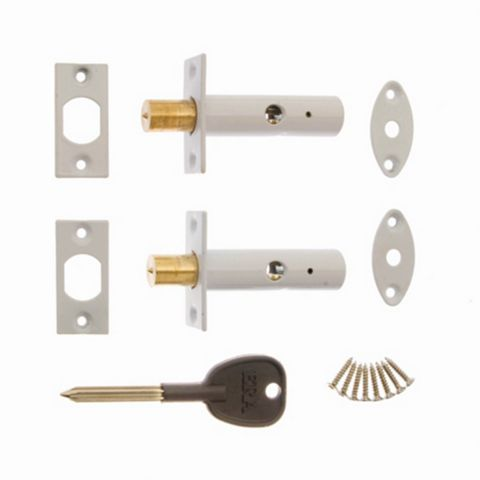 Era White Brass Concealed Door Security Bolts (L)78mm, Pack of 2