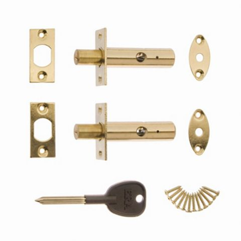 Era Brass Concealed Door Security Bolts (L)78mm, Pack of 2