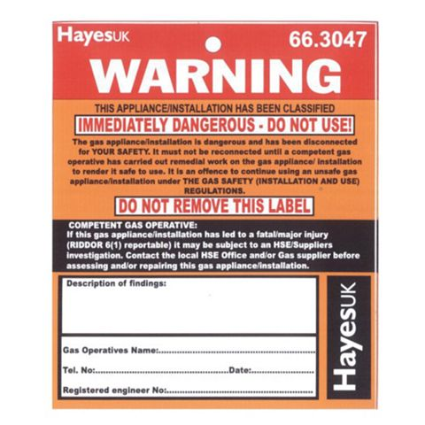Warning Immediately Dangerous Labels (W)100mm