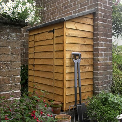 Outdoor Small Storage 3'7'' x 2'1'' Approx Overlap Dip Treated Wood Midi Wall Store