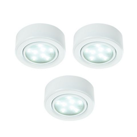 Lap White Metal & Glass Cabinet Downlights, Pack of 3