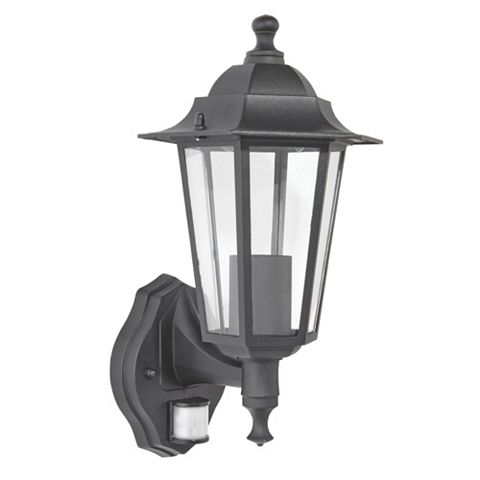Coach Lantern Black External PIR Wall Light