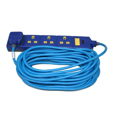 Masterplug 4 Socket 13 A External Extension Lead 10m Blue