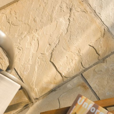 Natural Sandstone Fossil Buff Single Paving Slab, (L)600mm (W)600mm (T)24mm