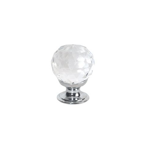 Traditional Polished Chrome Effect Knob Furniture Knob, Pack of 2