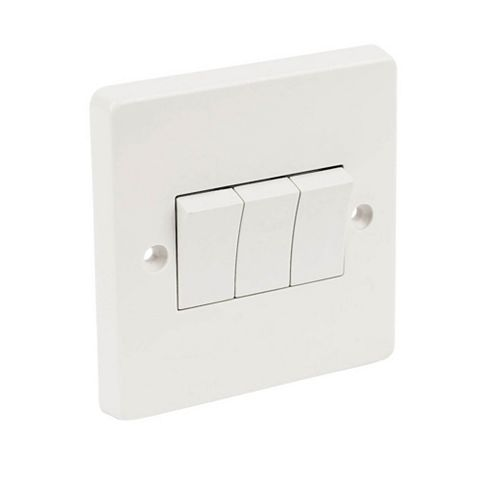 Crabtree 3-Gang 2-Way 10AX White Switch