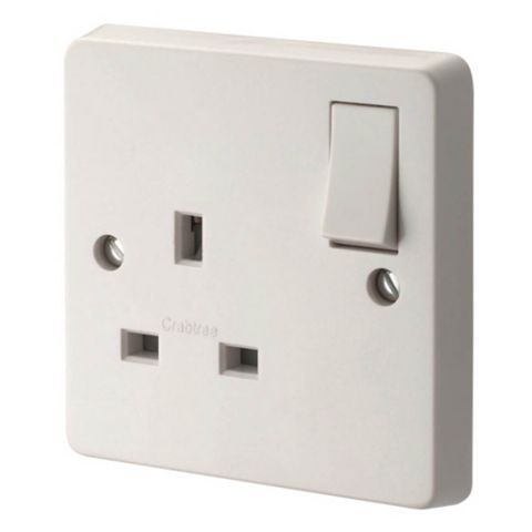 Crabtree 13A 1-Gang White Gloss Switched Socket