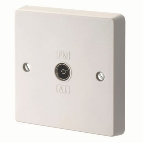 Crabtree Raised Profile White Gloss Plastic Co-Axial Socket