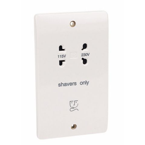 MK Raised Slim White 115/230V Dual Voltage Shaver Socket