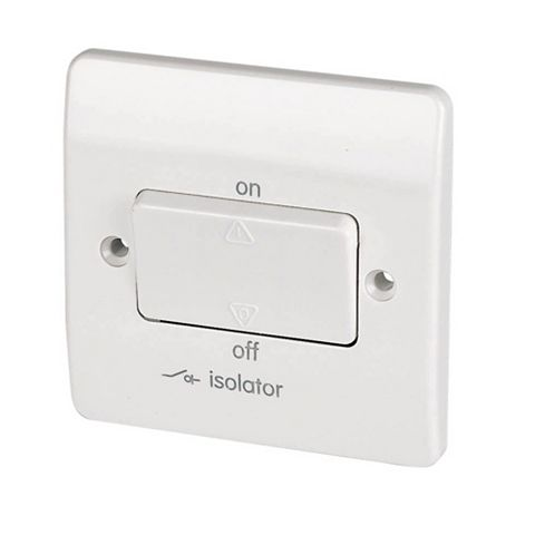 MK 1-Gang 10A White Fan Isolator Switch