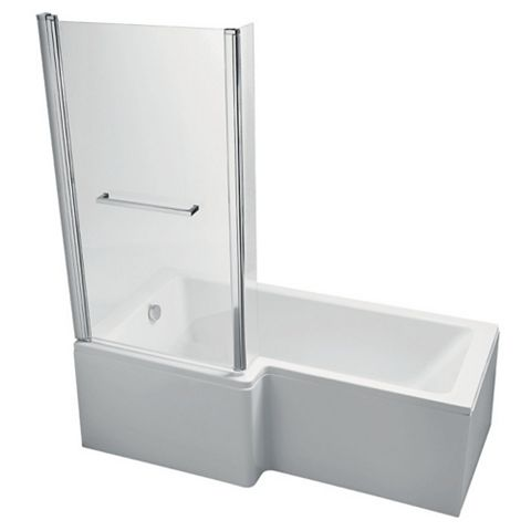 Ideal Standard Imagine LH Acrylic Rectangular Shower Bath, Front  Panel & Screen (L)1700mm (W)700mm