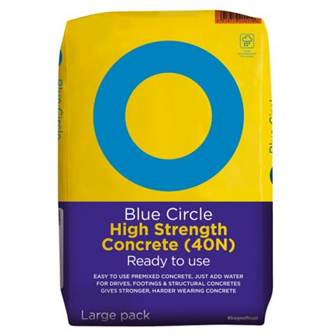 Blue Circle Ready to Use High Strength Premixed Concrete Grey 20 kg Bag