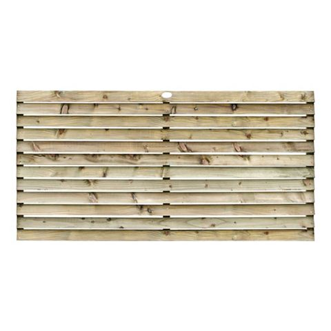 Louvre Slatted Fence Panel (W)1.8m (H)900mm, Pack of 3