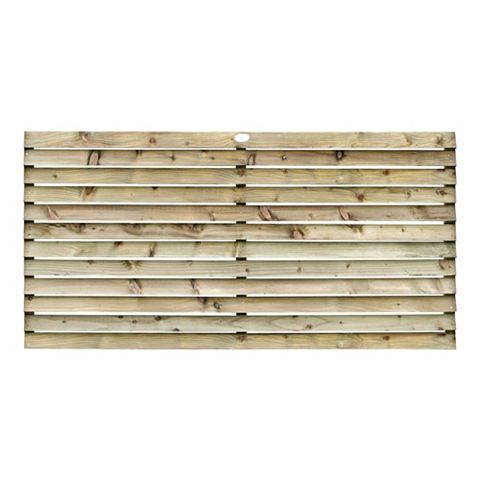 Louvre Slatted Fence Panel (W)1.8m (H)900mm, Pack of 4