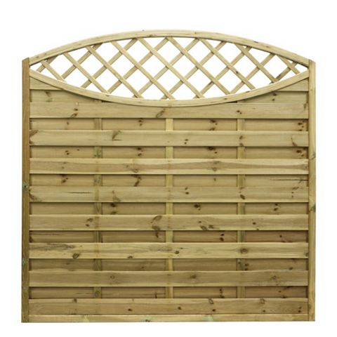 Elite Lattice Top Planed Horizontal Slats Fence Panel (W)1800mm (H)1800mm, Pack of 5