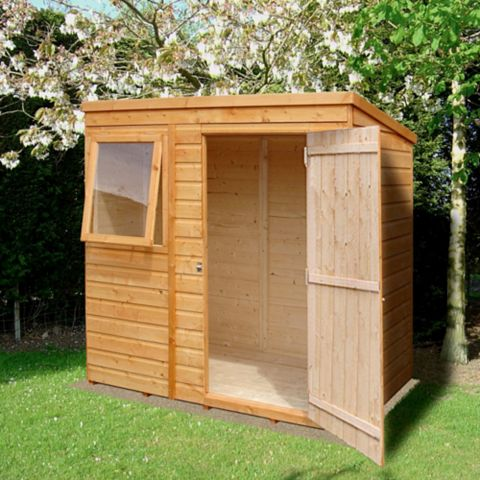 6X4 Caldey Pent Shiplap Wooden Shed & Base Frame Provided