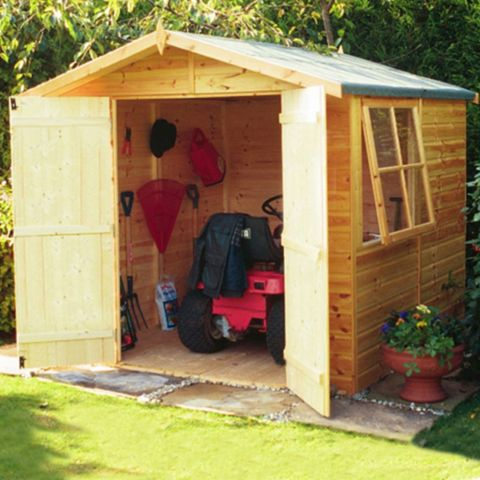7X7 Alderney Apex Shiplap Wooden Shed & Base Frame Provided