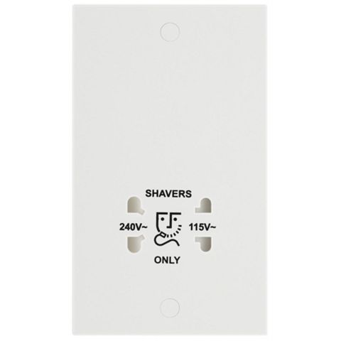 Raised White 115/230V Dual Voltage Shaver Socket