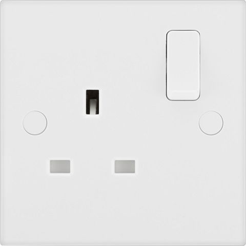 13A 1-Gang White Switched Socket