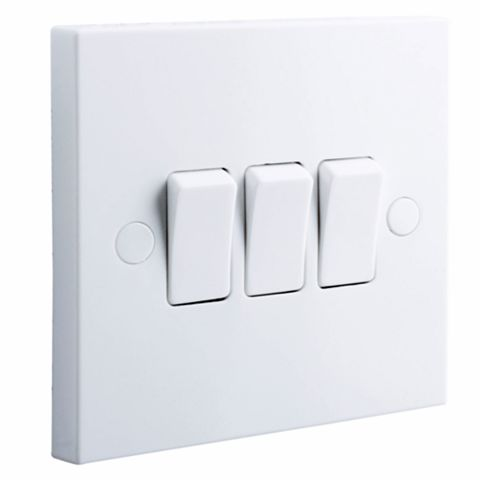 British General 3-Gang 2-Way 10AX White Switch