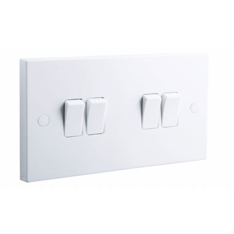 British General 4-Gang 2-Way 10AX White Switch