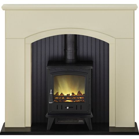 Rotherham Stone & Black Electric Stove Suite