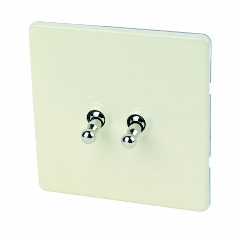 Varilight 2-Gang 2-Way 10A Cream Toggle Switch