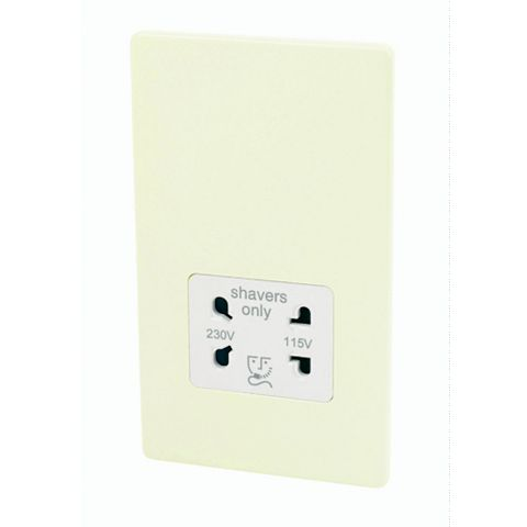 Varilight Flat Plate Cream Screwless 115/230V Dual Voltage Shaver Socket