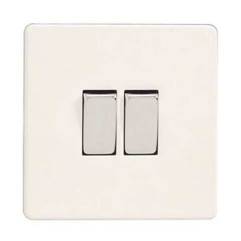 Varilight 10A 2-Way Double Ice White Double Light Switch