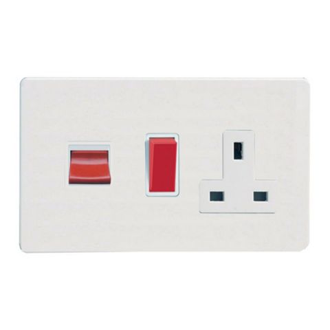 Varilight 2-Gang 45A Cooker Switch & Socket