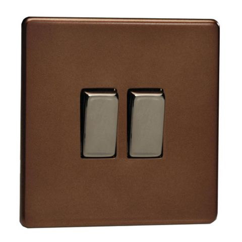 Varilight 10A 2-Way Double Mocha Double Light Switch
