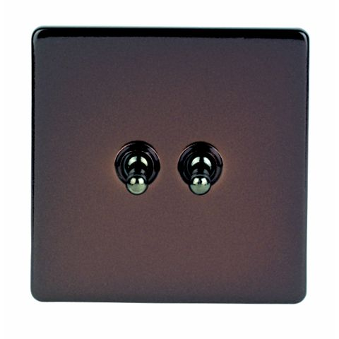 Varilight 2-Gang 2-Way 10A Brown Toggle Switch
