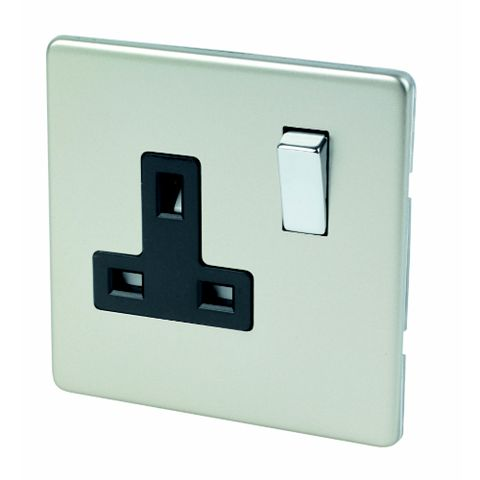 Varilight 13A 1-Gang Satin Chrome Effect Switched Socket