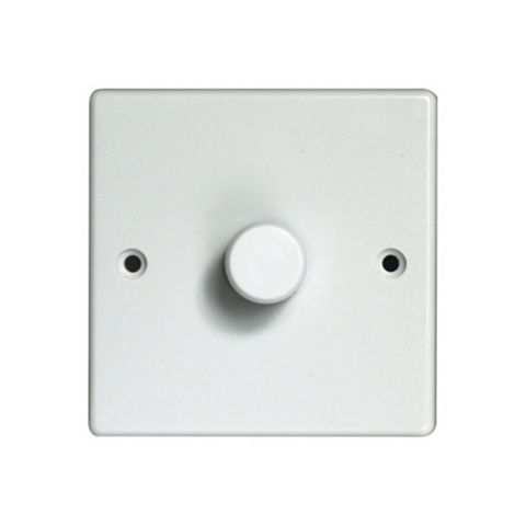 Varilight 1-Gang 2-Way White Push On/Off with Rotary Dimming Dimmer Switch