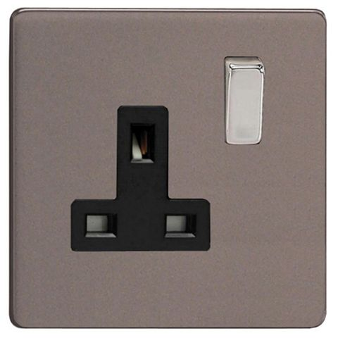 Varilight 13A 1-Gang Slate Grey Matt Switched Socket