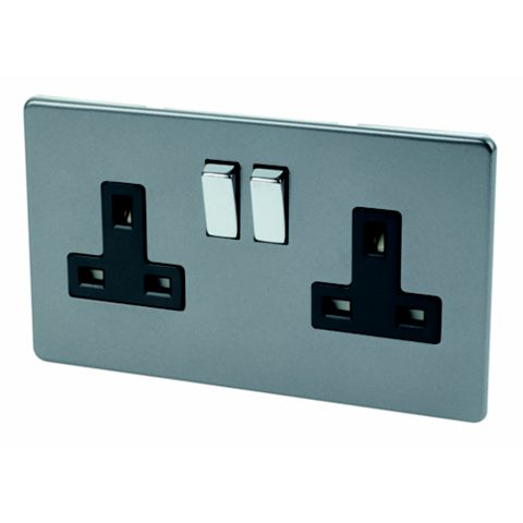 Varilight 13A 2-Gang Slate Grey Polished Steel Effect Switched Socket