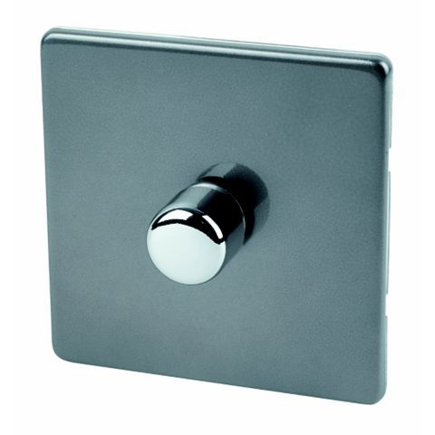 Varilight 1-Gang 2-Way Grey Push Dimmer Switch