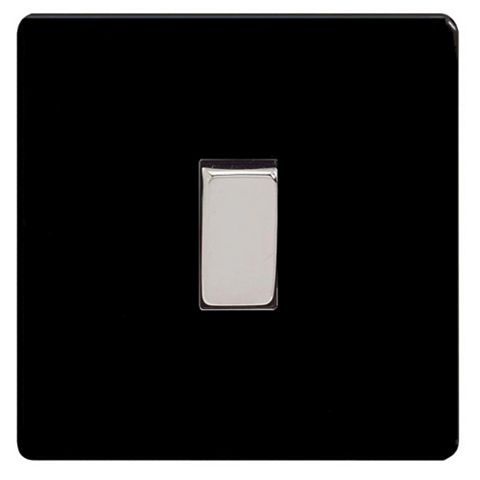 Varilight 1-Gang 2-Way 10A Black Rocker Single Light Switch