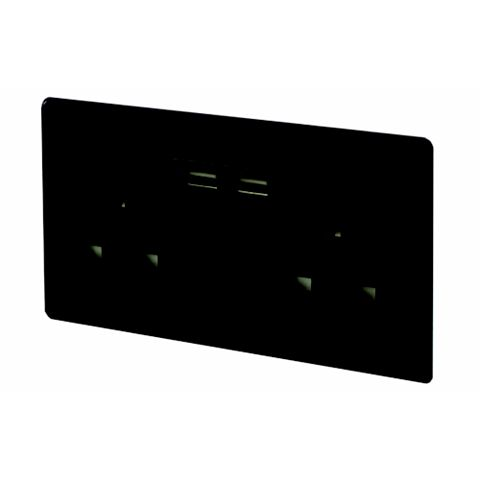Varilight 13A 2-Gang Jet Black Gloss Unswitched Socket with USB