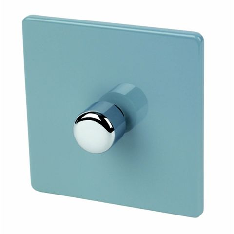 Varilight 1-Gang 2-Way 10A Blue Push Dimmer Switch