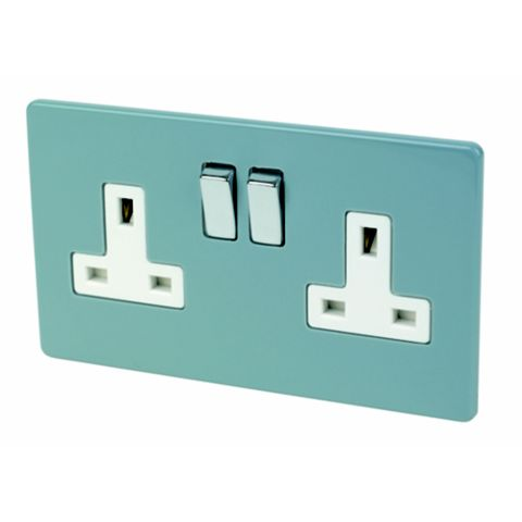 Varilight 13A 2-Gang Sky Blue Gloss Switched Socket