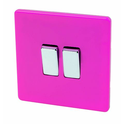 Varilight 2-Gang 2-Way 10AX Pink Switch