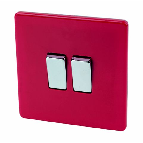 Varilight 2-Gang 2-Way 10AX Red Switch