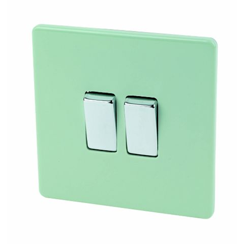Varilight 2-Gang 2-Way 10A Green Switch
