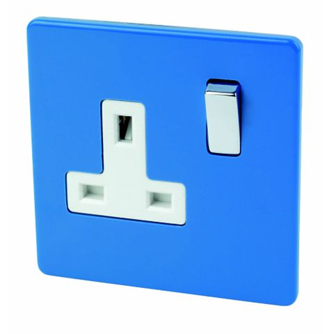 Varilight 13A 1-Gang Cobalt Polished Switched Socket