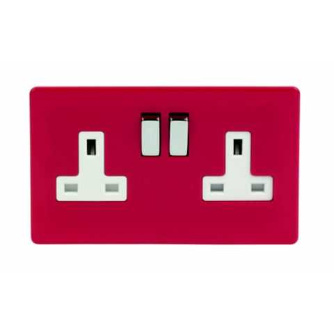 Varilight 13A 2-Gang Claret Polished Switched Socket
