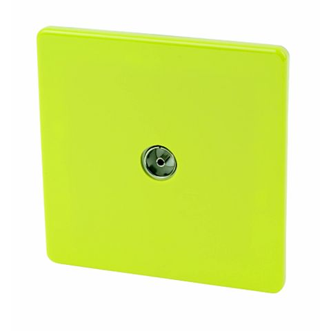Varilight Flat Plate Screwless Green Coaxial Socket