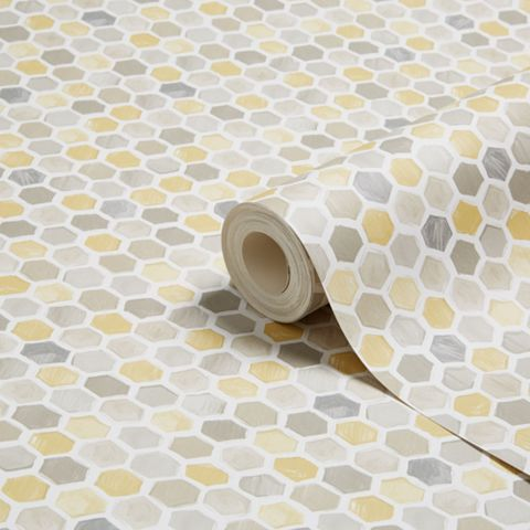 Honeycomb Yellow Geometric Wallpaper