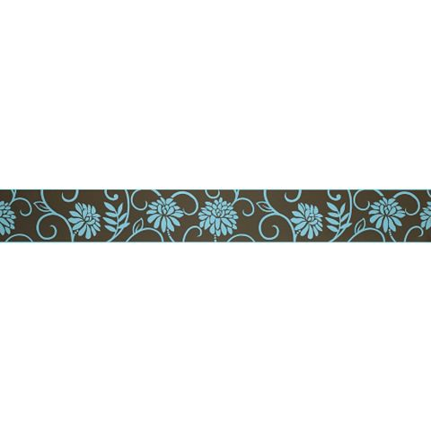 Abigail Chocolate & Teal Floral Border