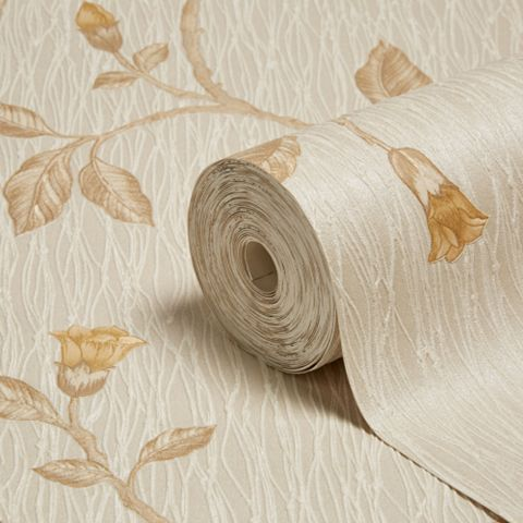 Lia Yellow Beige Trail Wallpaper